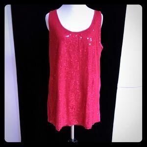 Lane Bryant Magenta Pink Sequin Tunic